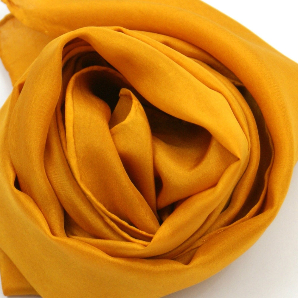 Orange Silk Scarf Hand Dyed Silk Scarf 8 x 70 inches by KMSilks Silk Scarves Orange
