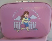 Vintage Childs Girls 1970s Going To Grandma's Pink Suitcase Luggage- Overnight Bag -Purse- Storage Box- Carry-On - LittleMarin