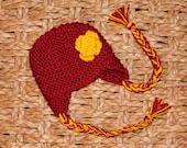 Knitted baby girl hat with flower, MORE COLORS Availalbe, ISU, Iowa State, University of Southern Californa,  Hat