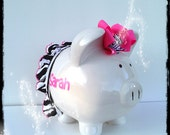 Personalized princess with pink bow and zebra tutu piggy bank