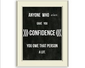 Audrey Hepburn Quote- Confidence art printable, Chalkboard style background, Black and WhiteTypography Home Decor