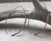 Copper and Silver Wishbone Earrings