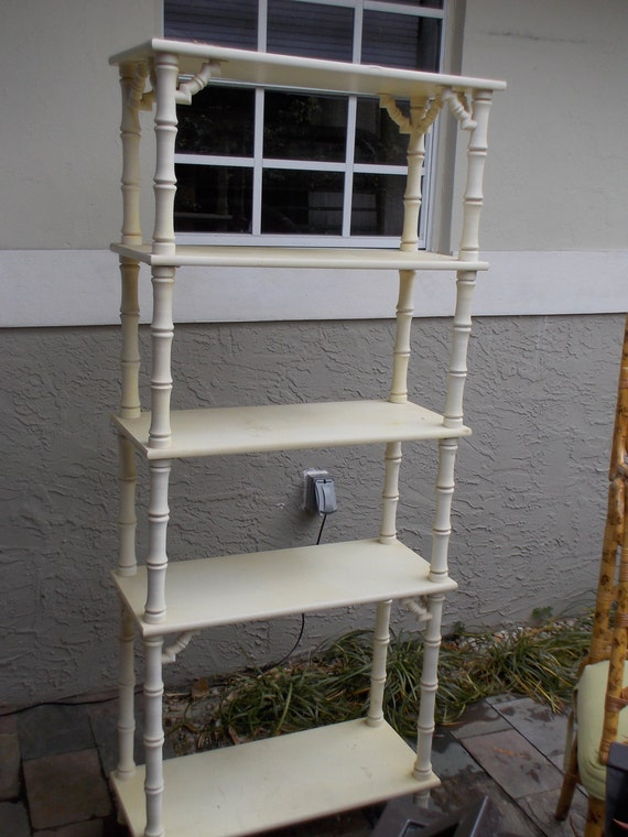 Vintage Faux Bamboo Shelve Bookcase Display Cabinet On Hold