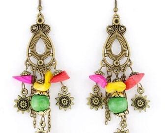 Beautiful Gold-tone Long Chandelier Beads Dangle Drop Earrings
