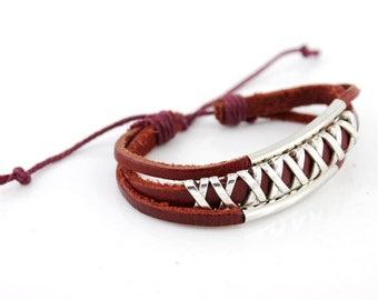"Cool Cottage Chic Dark Red Leather Cord Bracelet  With ""X"" Pendant decorative"