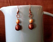 Handmade earrings, brown and gold freshwater pearls with copper metal
