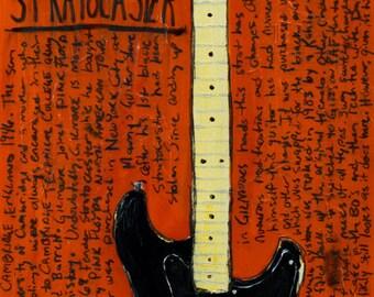 Pink Floyd Art. David Gilmour Black Fender Stratocaster vintage electric guitar art print. 11x17