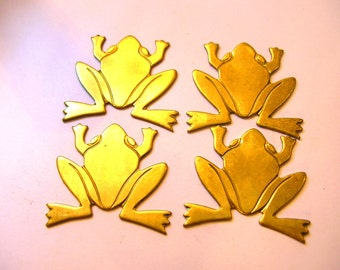 4 Vintage Brass Frogs Toads DIY - Flat Back Findings - Jewelry Supplies