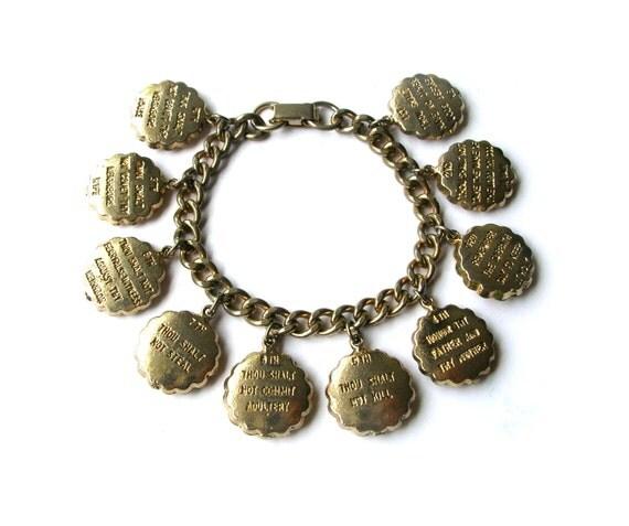 chunky 10 commandments charm bracelet