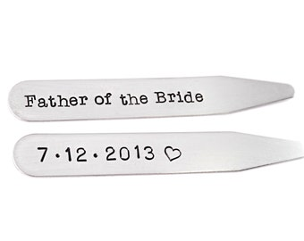 Personalized Wedding Collar Stay - Set of 2 - Engraved Steel - Father of the Bride - Wedding Party Gift - Gift For Dad Wedding - 1210