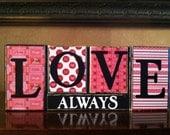 Valentine's Day - Wood LOVE ALWAYS block set- Wood love valentines day Sign - Seasonal Winter Home Decor fireplace mantel- bookshelf decor