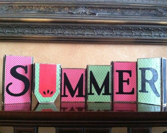 Wood Summer blocks - Seasonal block set - Summer home Decor with watermelon - Wood sign