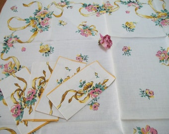vintage shabby chic floral roses pink and yellow  green tablcloth and napkins by cream linen cotton tablecloth by hermina's cottage