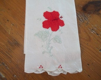 vintage hand towels  shabby chic cottage chic linen cotton red poppies and white hand towels finger tip towels by hermina's cottage