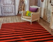 7.08ftx6.23ft, Striped Rug ,Large Area Rug, Vintage Hand Woven Rug  Pure Organic Wool Kilim Rug, Accent Floor Rug