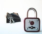 Vintage retro deep brown padlock miniature lock and key, mini padlock