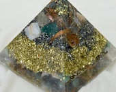 REDUCED by 10 dollars - Orgonite or orgone in pyramid form with copper, brass, rose quarts moon stone and more