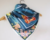Soloman Islands, travel scarf  , tropical flowers , map ,   canoe prow , frigate bird