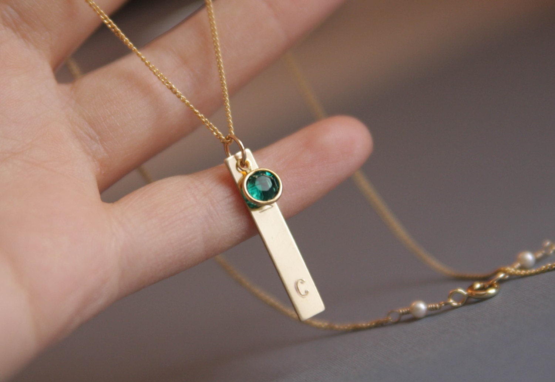 personalized jewelrygold bar necklace monogram necklace. Black Bedroom Furniture Sets. Home Design Ideas