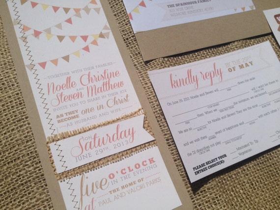 Items Similar To Bunting Calligraphy Wedding Invitation MadLibs Coral Pennant Kraft Burlap Sewn