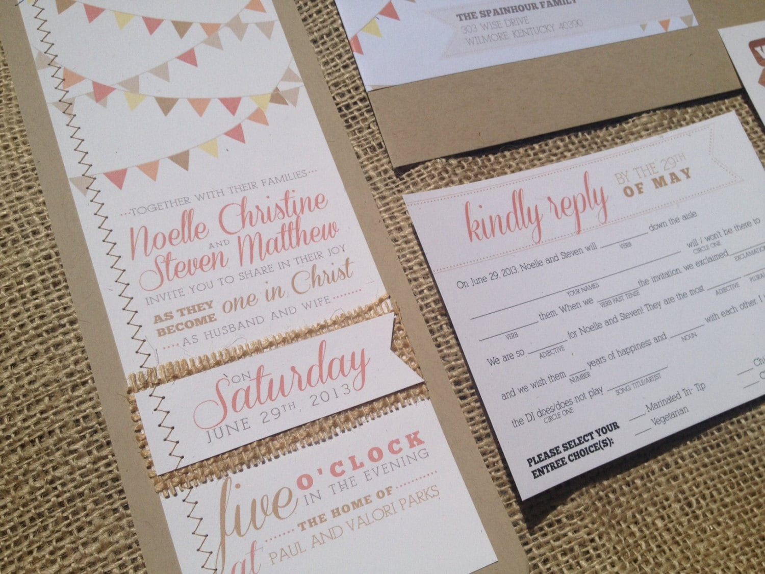 Bunting Wedding Invite: Bunting Calligraphy Wedding Invitation MadLibs By Mailepaperie