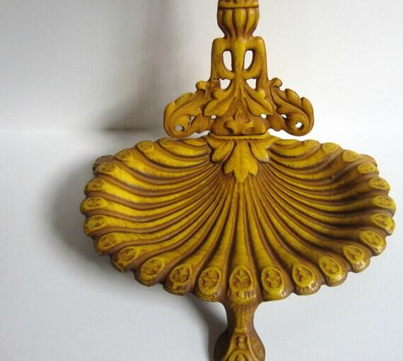 Yellow Umbrella Stand: Vintage Royal Ornate Cast Metal Mustard Yellow Umbrella Stand