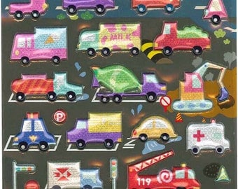 Korean Scrapbook Die-cut Puffy Twinkle Stickers, Colorful Vehicles (STPU03013)