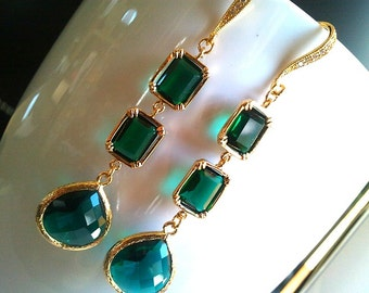 Emerald Earrings, Chandelier earrings,Drop, Dangle Earrings, bridesmaid gifts,Wedding jewelry,christmas gift, cocktail jewelry