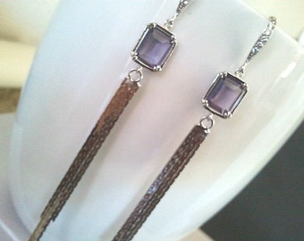 Purple Simple Line Long Earrings,Drop, Dangle, Glass Earrings, bridesmaid gifts,Wedding jewelry,mother's day gift
