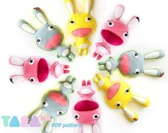 Felt Easter Bunny Pattern, DIY Felt Rabbit Toy, Fabric Rabbit Toy, Instant Download Pdf, TaraRabbit DIY PDF Sewing Pattern, Felt Animal