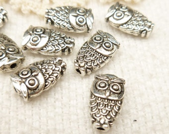 Tiny Two-sided Owl Metal Spacer Beads (10) - SF50