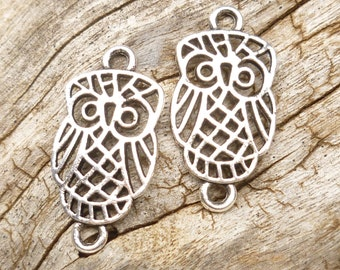 Filigree Owl Charm Connector, (8) - S112