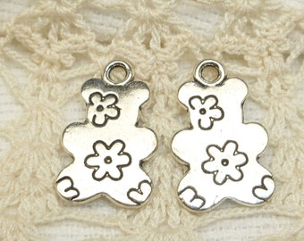 Flower Motive Teddy Bear Silhouette Charms, Silver tone (6) - S123