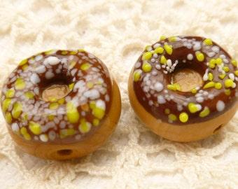 Miniature Chocolate Donut  Lampwork Glass Beads (2)