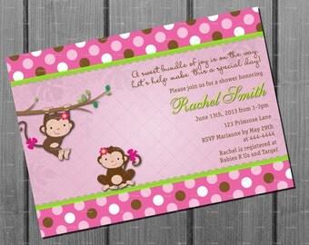 Girl Baby Shower Invitation - Baby Shower Invite Pink Monkey Girl - Baby Girl Shower Invite - Pink Monkey Baby Shower Invitation