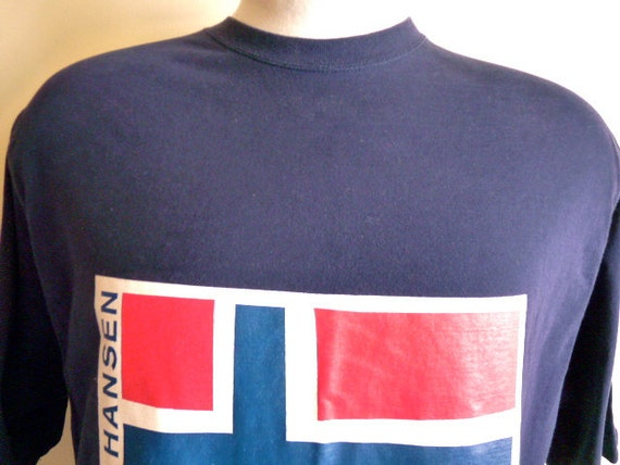 vintage 90's Helly Hansen Norwegian Flag graphic t-shirt, blue men women unisex navy graphic tee, blue red white, size xl extra large