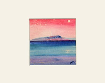 Scottish landscape, mounted fine art print. Pladda lighthouse, the view from Arran