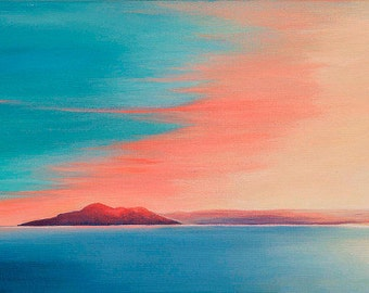 Sunset Over the Holy Isle, Arran. Small framed print of original painting