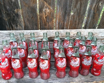 24 glass,  green glass, coke bottles,  glass vases,  coke cola, wedding bottles, party theme,  baby shower bottles, baby shower vases