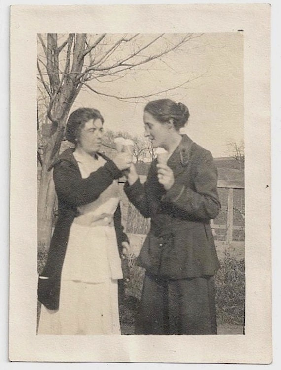 Old Photo Women Eating Ice Cream Cones Photograph vintage