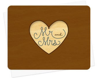 Married Heart Wood Wedding Congratulations Card * Engagement Card * Wedding Card * WC1354