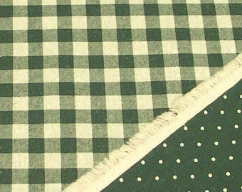 Reversible Print Checker and Dot (Green) Japanese Fabric / 110cm x 50cm