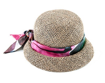 Straw Cloche Hat For Women , Womens Hats Summer , Straw Hat ,  Wings cloche
