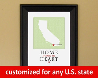 California Map Print - Home Sweet Home - Home Is Where the Heart Is - Personalized Housewarming Gift - College Graduation - 11 x 14