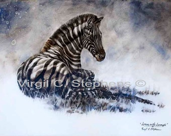 Zebra art, Serene On The Serengeti, original oil painting of a zebra on the serengeti in South Africa on canvas gallery wrap