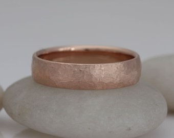 """Red gold wedding band, size 9, """"rough and refined"""", #411."""
