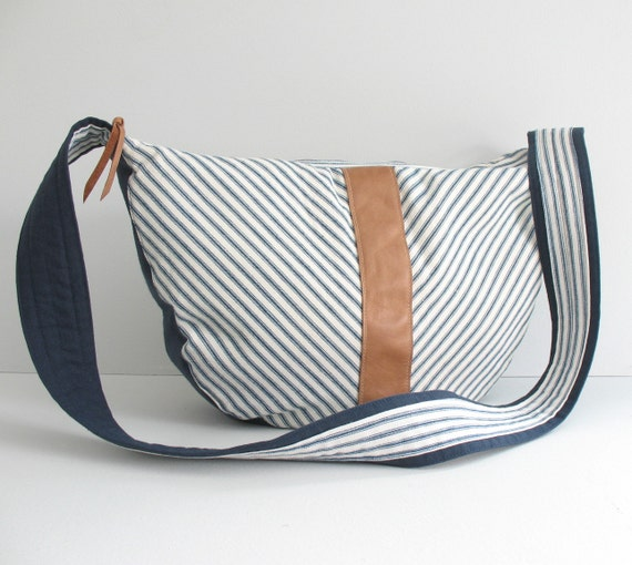 Large navy and white striped canvas cross body bag - striped zipper closure bag - large navy and white bag - striped hobo bag