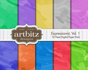 "Expressionist, Vol. 1, 10 Piece Digital Scrapbooking Paper Pack, 12""x12"", 300 dpi .jpg"