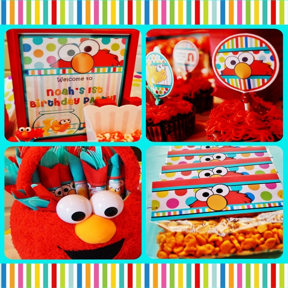 Elmo Party Package  - Sesame Street Party Package - Elmo and Dorothy Party Package  - Polka Dot Party Printable - 2 Design Options