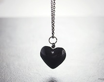 Black heart necklace, wire wrapped glass pendant anti valentine's day gifts for her under 20 - Hardest of Hearts